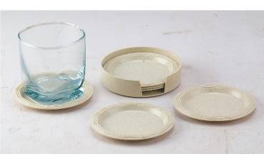 Tea Coaster Round Plastic Moulding With Holder For Coasters Set of 6 PCS