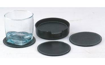 Coaster Leather Round With Holder For Coasters Set of 6 PCS