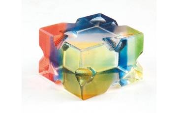 Paper Weight Acrylic Sheet Rainbow Color With Design No. CD 5x5x3.2 CM