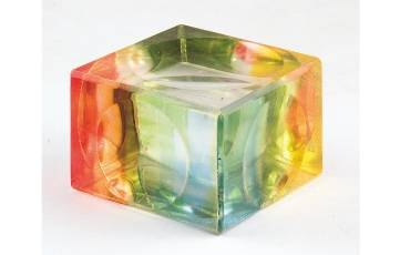 Paper Weight Acrylic Sheet Rainbow Color Engraved Design No 6 Holes 5x5x3 CM