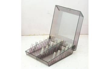 VISTING CARD HOLDER STAND ACRYLIC SHEET VISITING CARD BOX DOUBLE ROW WITH ALPHABATICAL DISPLAY 8.25x9.5x3 INCH
